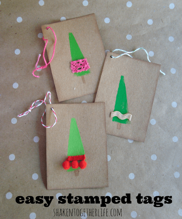 Easy Christmas tree stamped gift tags at shakentogetherlife.com