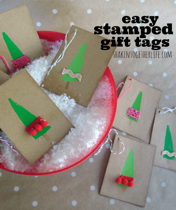 Easy Stamped Christmas Tree gift tags at shakentogetherlife.com