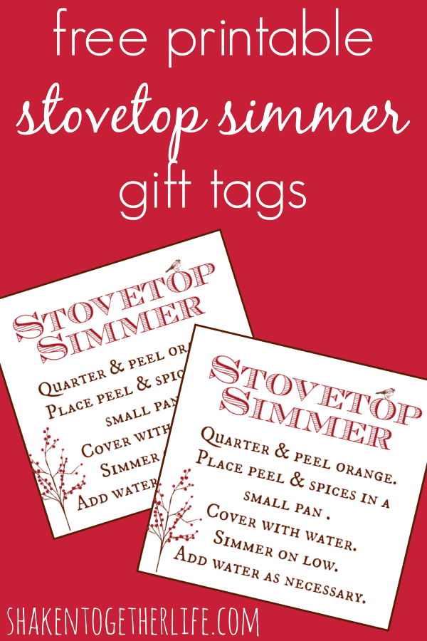 Free printable tags to attach to stovetop simmer spices - gift idea at shakentogetherlife.com