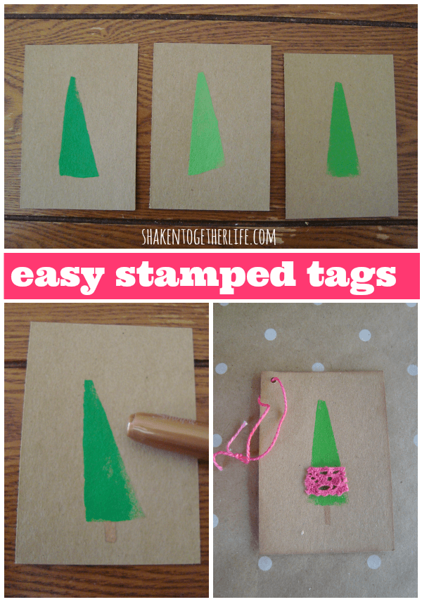 How to make Christmas tree stamped gift tags at shakentogetherlife.com