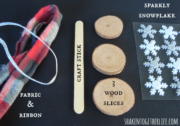 Supplies for a wood slice snowman ornament at shakentogetherlife.com