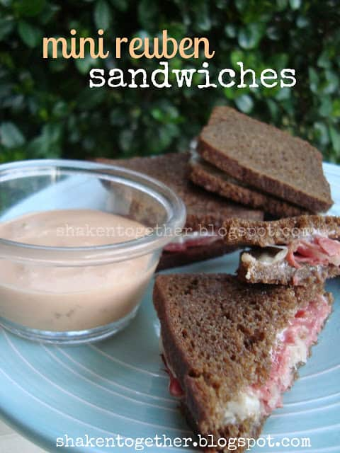 Mini reuben sandwiches made with that cute little cocktail bread!