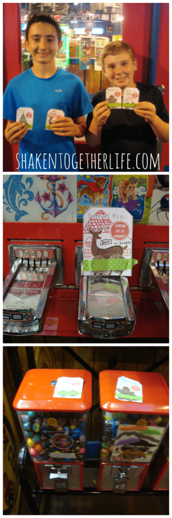 Random acts of kindness idea: leave quarters taped to soda machines, in laundromats or on the machines in restaurants!