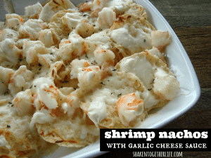 Shrimp nachos topped with an ooey gooey creamy garlic cheese sauce