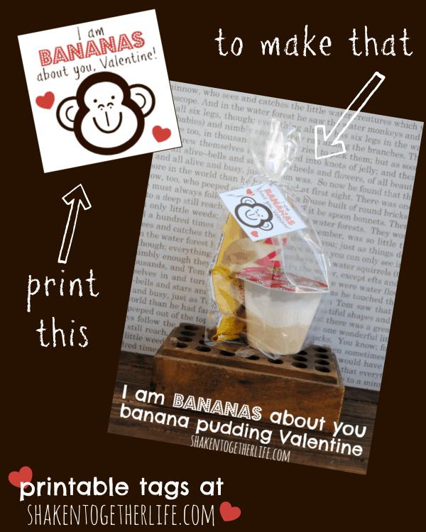Bananas about you, Valentine - banana pudding Valentine!