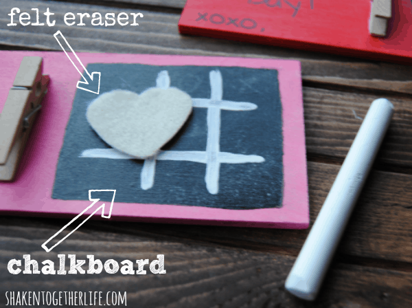 DIY chalkboard tic tac toe Valentines with a cute little felt heart eraser!