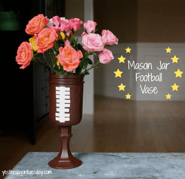 Mason Jar Football Vase