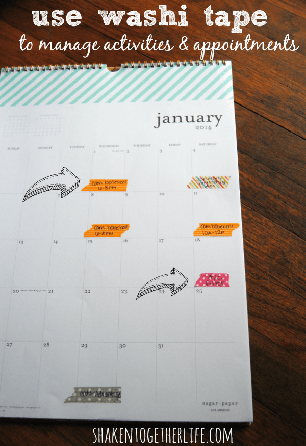 Use washi tape to track activities & appointments - organize your calendar in 2014!