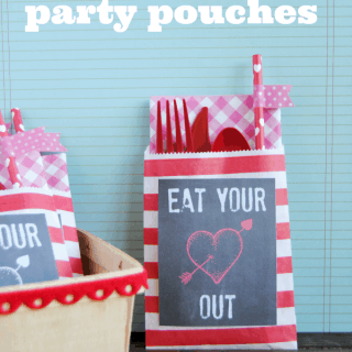 Valentine party pouches and free Eat Your Heart Out printables