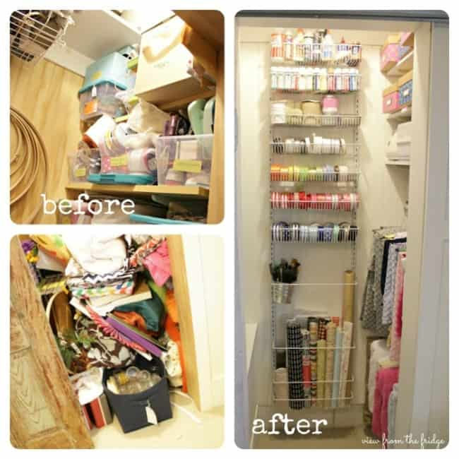 Awesome craft closet organization from View from the Fridge!