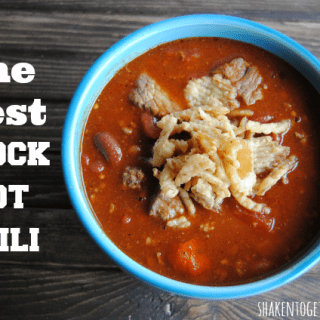 Hearty crock pot chili recipe with two kinds of beef!