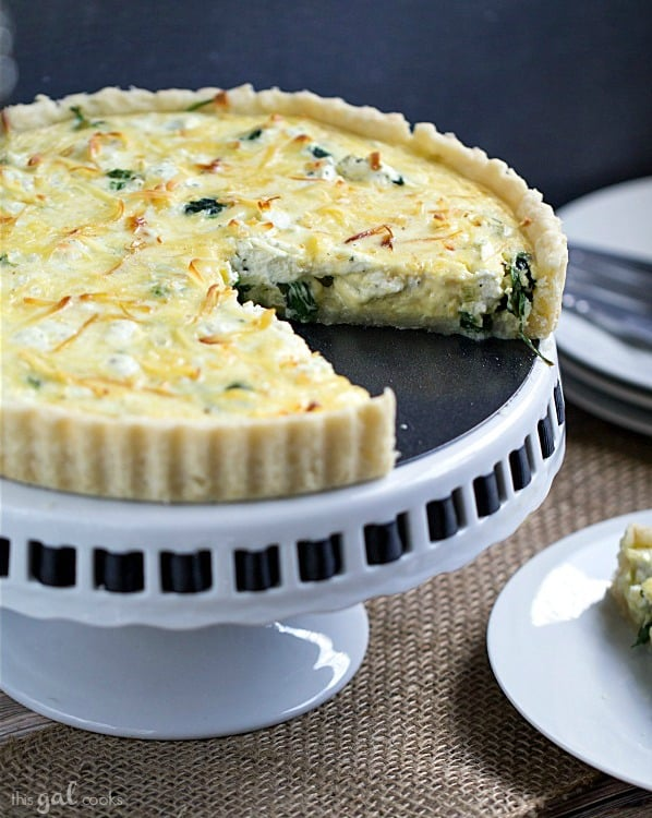 Spinach Leek & goat cheese tart