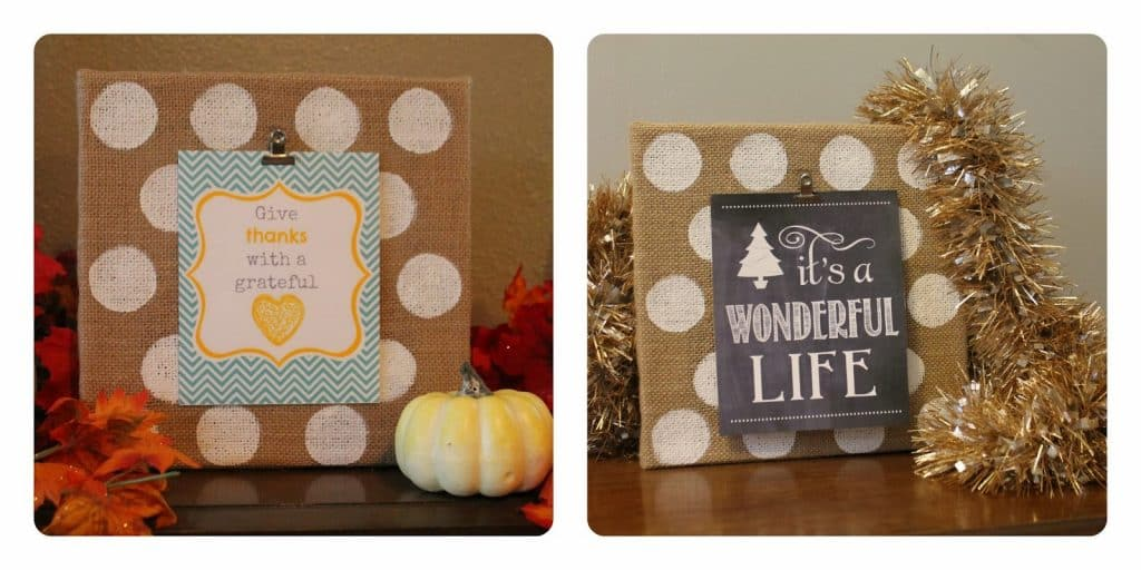 Burlap polka dot canvas