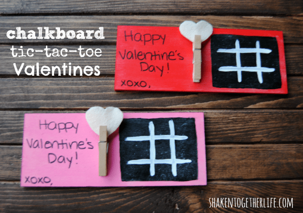 Chalkboard tic tac toe Valentines