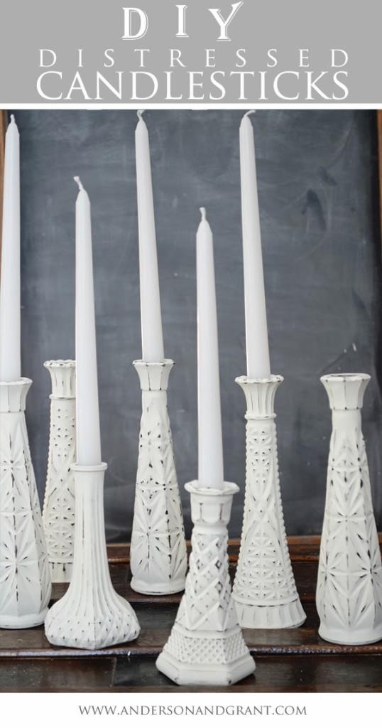 DIY distressed candlesticks Pretty DIY home decor idea!