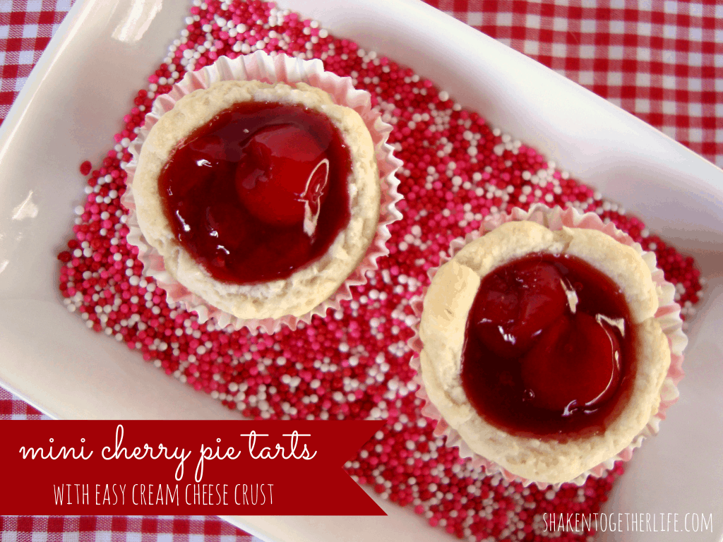 Mini cherry pie tarts with cream cheese crust