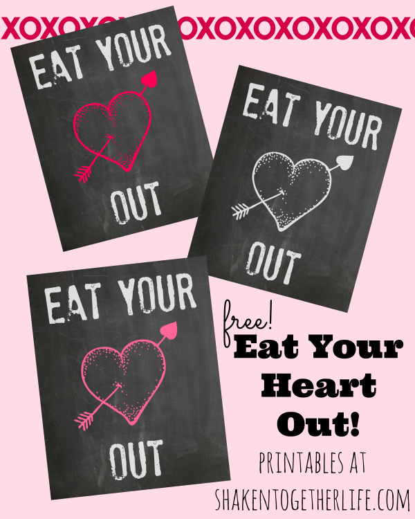 Eat Your Heart Out - printable tags for Valentine party pouches!  Grab the free printables at Shaken Together!
