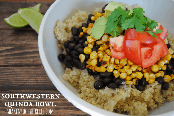 Satisfying, hearty and healthy - Southwestern quinoa bowl with pan roasted corn, avocado and tomato