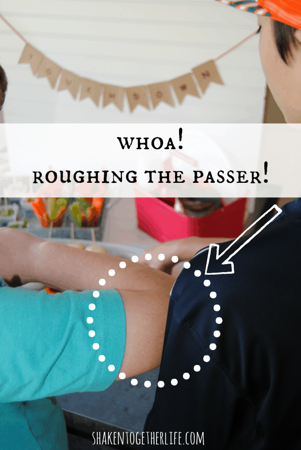 Roughing the passer - a fun super moment at our football food feast!