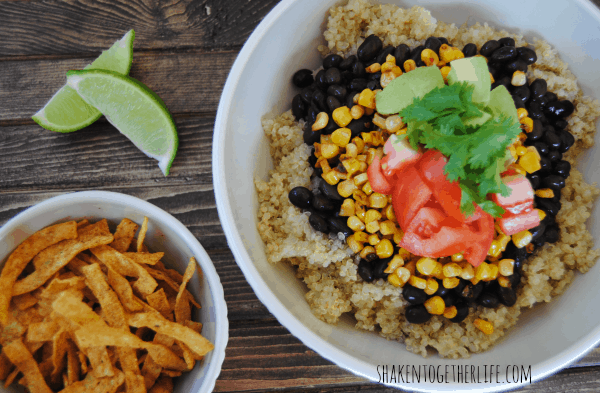 Southwestern quinoa bowl with roasted corn, tomatoes and avocados - healthy and hearty!