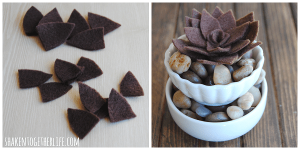 DIY felt succulent in layered bowls - no watering required!