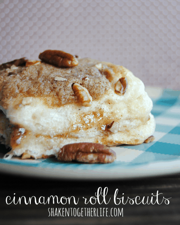 Cinnamon roll biscuits - stuffed AND topped with cinnamon sugar mixture!