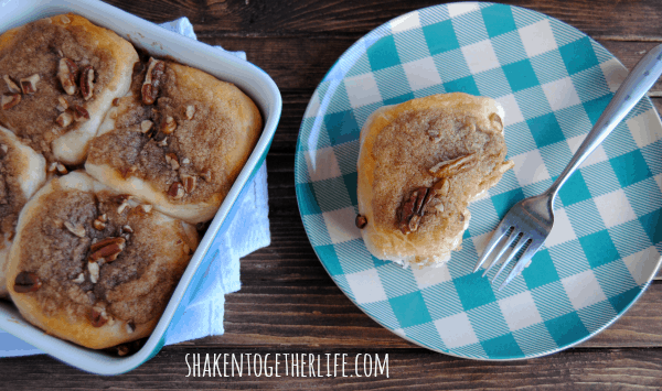 Easy pecan cinnamon rolls at shakentogetherlife.com