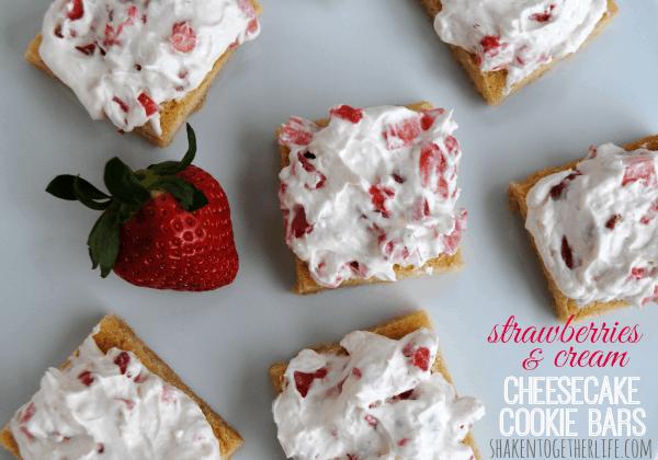 Strawberries and cream cheesecake cookie bars - OH YUM!