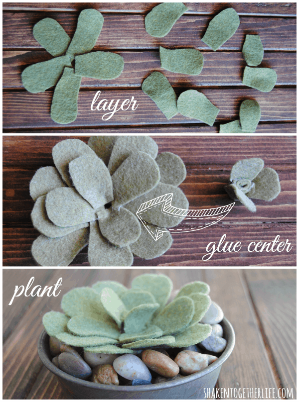 Easy tutorial for DIY felt succulents at shakentogetherlife.com