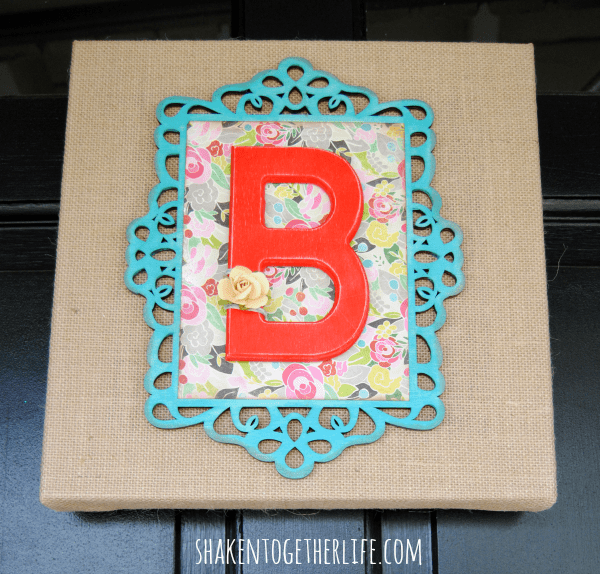 Wooden Monogram Burlap canvas instead of a wreath!
