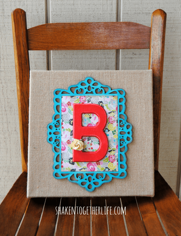 Pretty layered wooden monogram burlap canvas