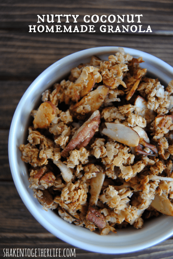 Homemade granola brimming with almonds, pecans and coconut - SO good!