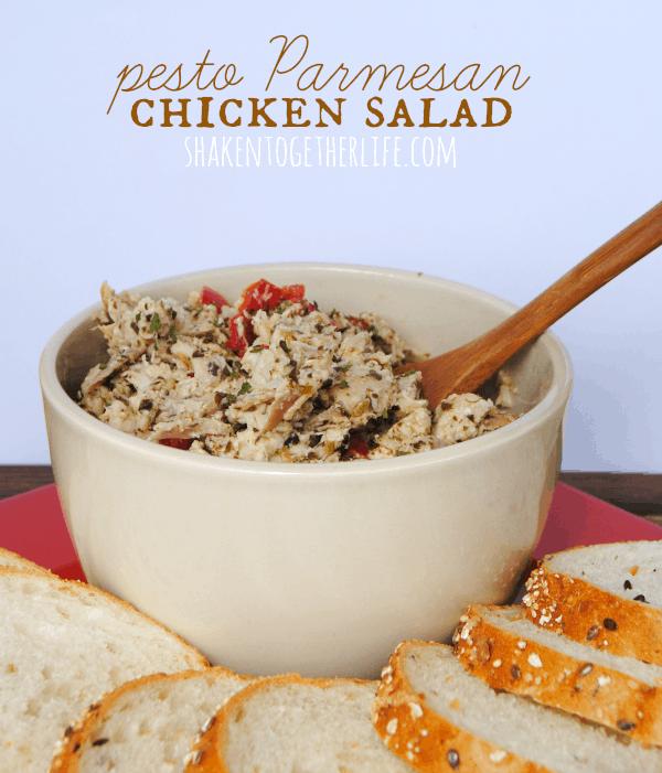 Super delicious pesto Parmesan chicken salad