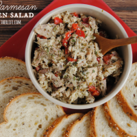 This chicken salad is awesome! Full of pesto, Parmesan cheese and fresh red pepers!