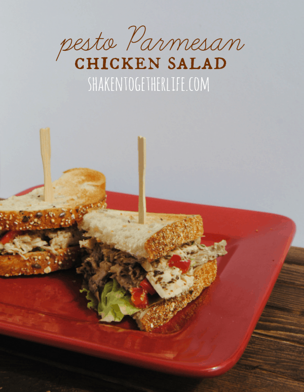 Hearty pesto Parmesan chicken salad is a delicious lunch or dinner!