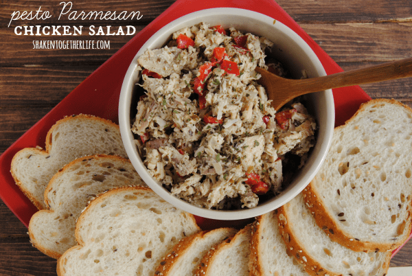 This chicken salad is awesome! Full of pesto, Parmesan cheese and ...