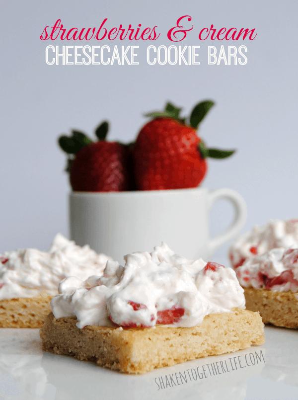 Strawberries and cream cheesecake cookie bars