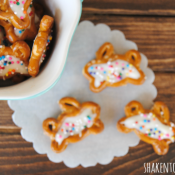 Chocolate filled bunny pretzels are the perfect sweet and salty Easter treat!
