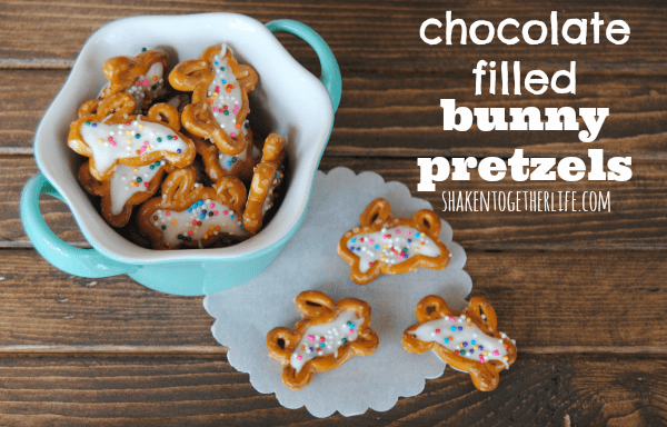 Easy, no-bake chocolate filled bunny pretzels for Easter!