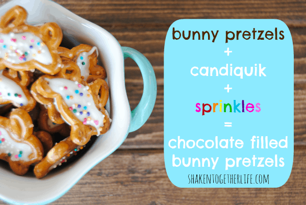 How to make chocolate filled bunny pretzels at shakentogetherlife.com