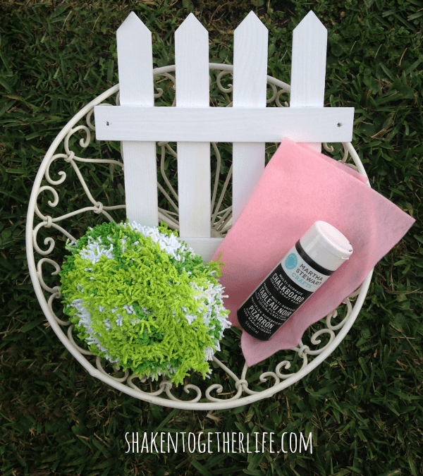 Supplies for a picket fence chalkboard countdown - look at that crazy yarn!