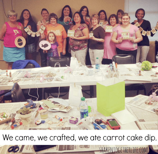 These awesome crafters give the loaded carrot cake dip two hot glue burned thumbs up!