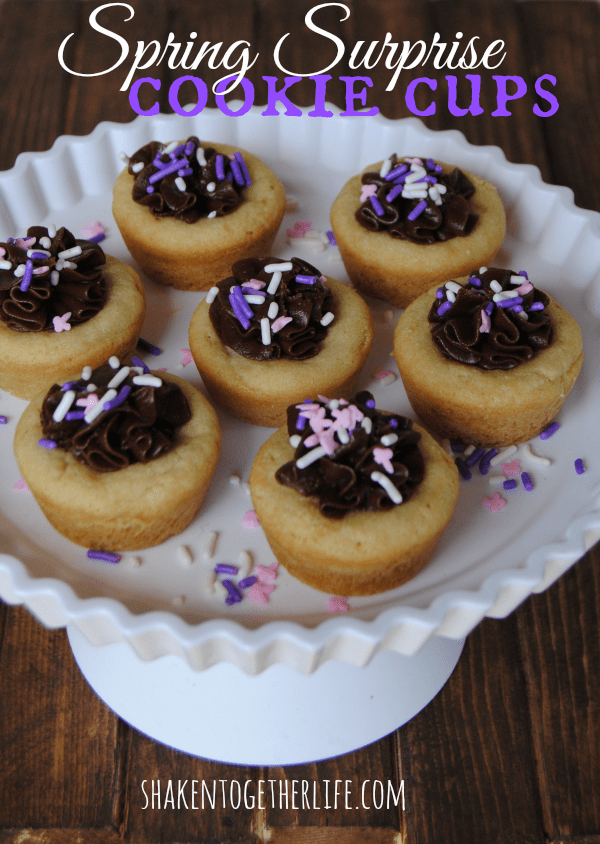 An easy treat for Spring - Spring surprise sugar cookie cups!
