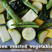 Squash, zucchini and green beans are roasted with lemon and olive oil - so simple and delicious!