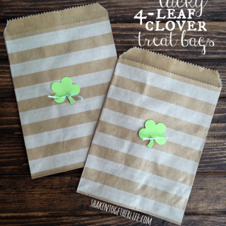Lucky 4-leaf clover treat bags for St. Patrick's Day