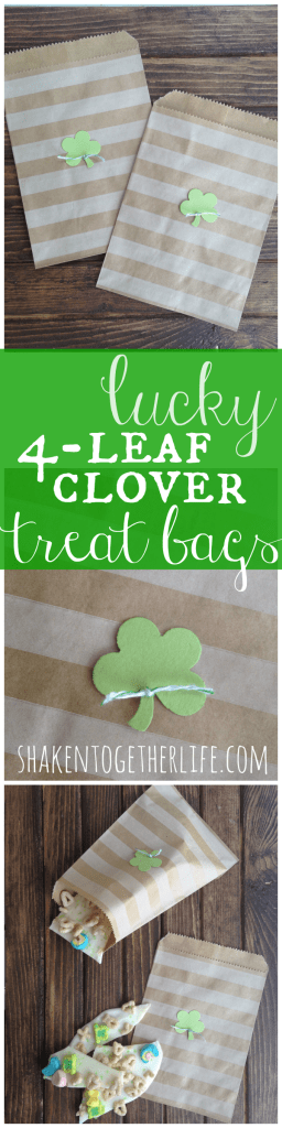 Easy lucky 4-leaf clover treat bags for St. Patrick's Day!
