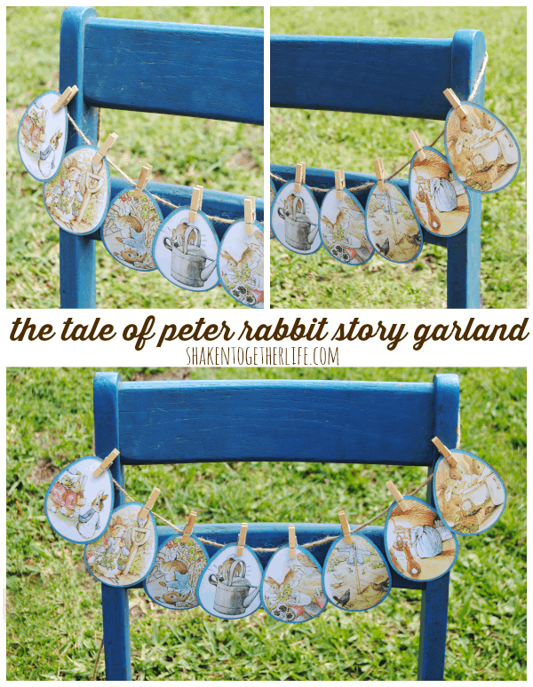 Make a story garland using a $1 book to tell the Tale of Peter Rabbit!