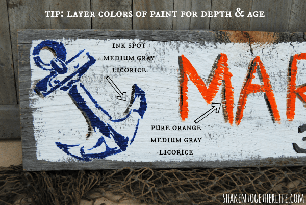 Tips for layering paint colors on hand lettered signs - DIY stenciled anchor sign
