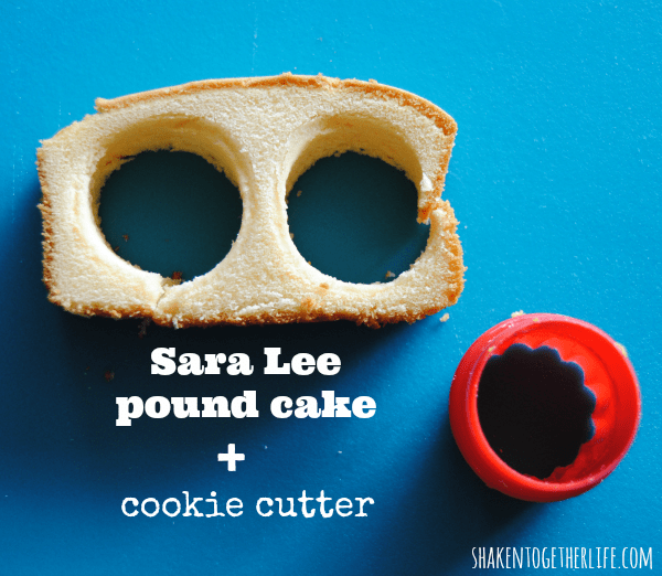 Use a small round cookie cutter to make pound cake rounds