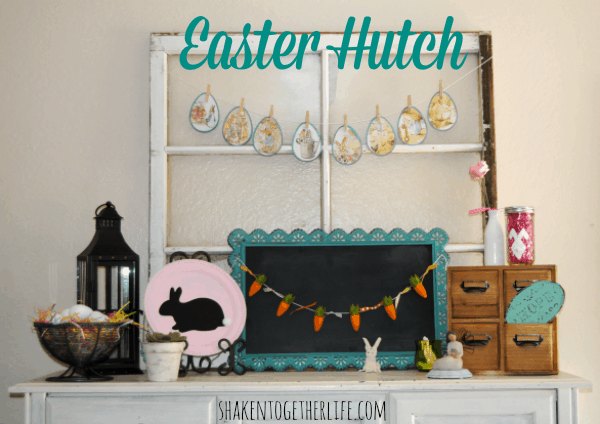 My {almost} Easter mantel or the Easter decor on my favorite hutch!